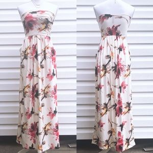 NEW Ivory Floral Strapless Ruched Maxi Dress
